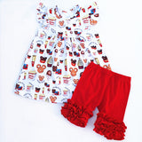Girls Mickey Mouse Snacks Flutter Pearl Top Red or Yellow Icing Shorts Set 12M-7 - My Cutie Pye Boutique