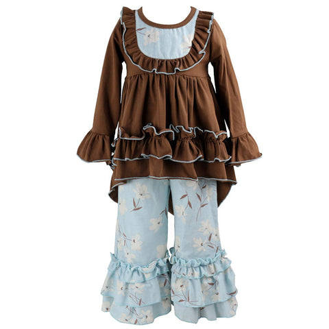 Eliza Ruffle Set Brown Blue Cherry Blossom - My Cutie Pye Boutique