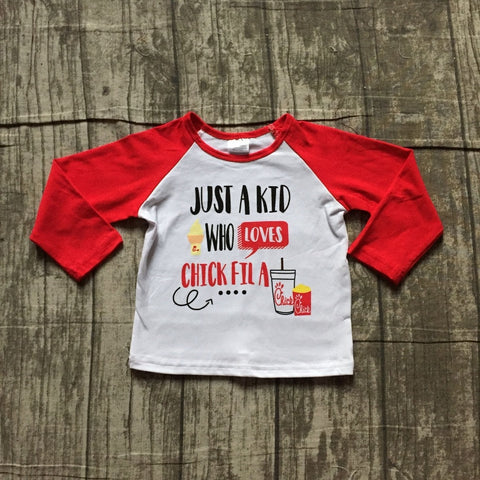 Just a Kid Who Loves Chick-Fil-A Red Raglan Top