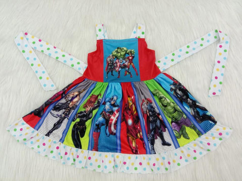 Summer children's girl dress animation movie Marvel character stitching dress color round dot design
