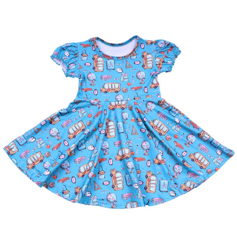 Blue School Bus Twirl Dress - My Cutie Pye Boutique