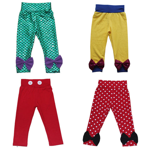 Girls Summer Leggings Harem Princess Mermaid Snow white Kids Pants with Bows Boys Mickey Minnie Children Cotton Elastic Pants