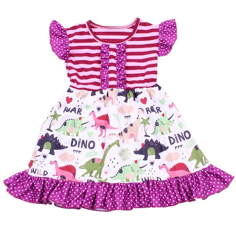 Pink and Purple Dino Roar Striped Dress - My Cutie Pye Boutique