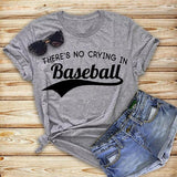 There's No Crying In Baseball Gray Tee - My Cutie Pye Boutique