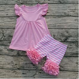 Pink Stripe Pearl Striped Icing Shorties Set - My Cutie Pye Boutique