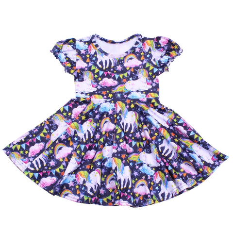 Rainbow Unicorn Twirl Dress - My Cutie Pye Boutique