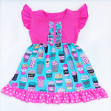 Girls Hot Coffee Latte Pink or Blue Flutter Dress Sizes 12M-7 - My Cutie Pye Boutique