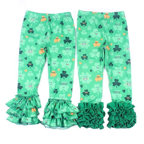 St Partick Day Baby Girls Pants Shamrock Pattern Girls Long Ruffle Pants Kids Green Floral Clothing 9M to 7T Available 2019