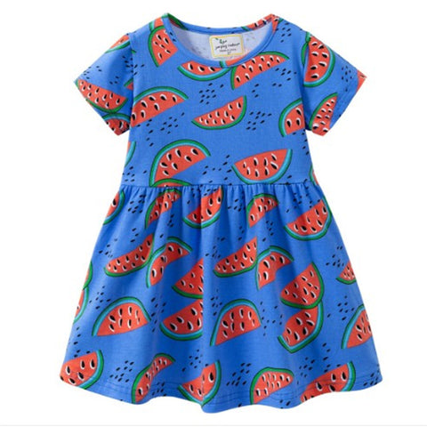 Blue Short Sleeve Watermelon Dress - My Cutie Pye Boutique