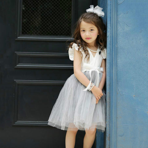 Girls Tutu Dress Sizes 3T 4T 5/6 7/8 9/10 White Wrap Gray Skirt Party Church NEW - My Cutie Pye Boutique