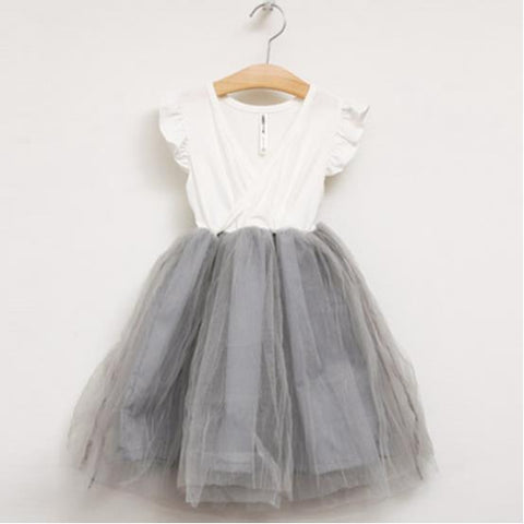 154fa0597 Girls Tutu Dress Sizes 3T-10 White Wrap Gray Skirt – My Cutie Pye ...