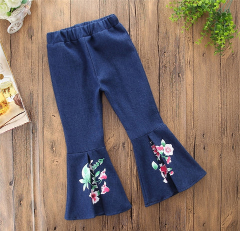Girls Floral Bell Jeans Elastic Waist Sizes 24M-6 - My Cutie Pye Boutique