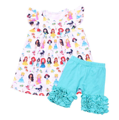 Princess Pearl Aqua Icing Shorties - My Cutie Pye Boutique