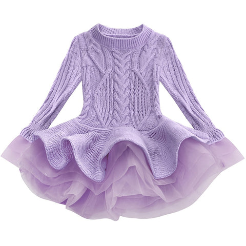 Lavender Sweater Tutu Dress