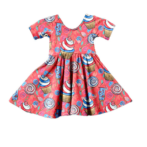 Red Patriotic Party Twirl Dress - My Cutie Pye Boutique