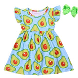 Blue and Green Avocado Dress with Bow - My Cutie Pye Boutique