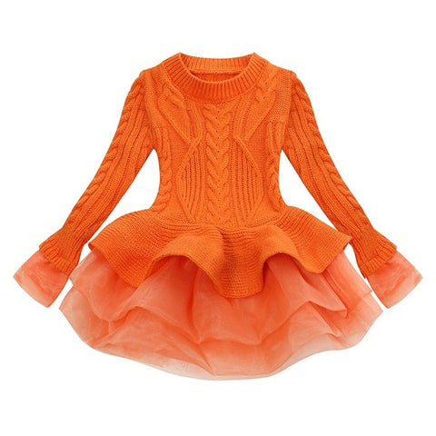Orange Sweater Tutu Dress