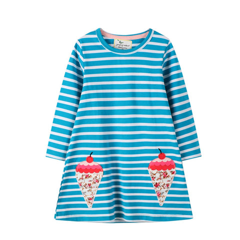 Jumping Meters New Animals Princess Girls Dress Fashion Embroidery Ice Cream Long Sleeve Kids Girl Dresses for Toddler Girls