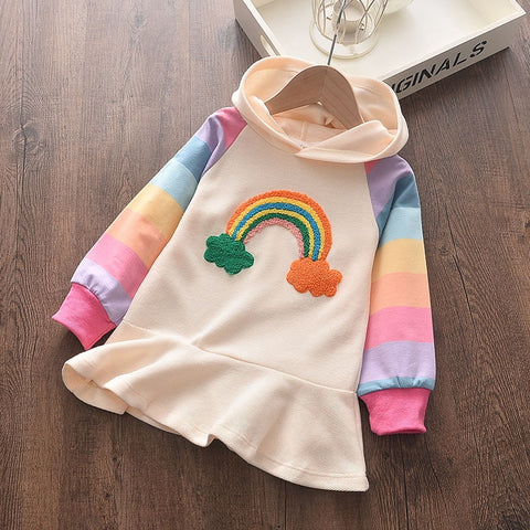 Baby Girls Party Dress New Princess Dress Knit Rainbow Colorful Kids Girl Dress Sweet Hooded Children Clothing Long Sleeve Dress