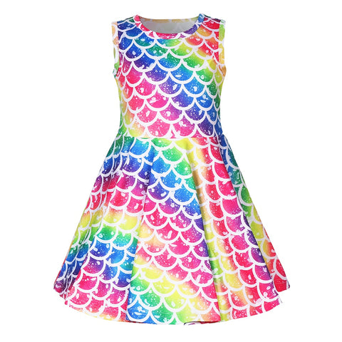 Mermaid Scale Rainbow Twirl Dress - My Cutie Pye Boutique