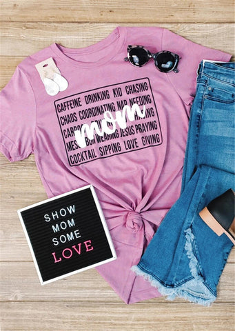 Mom Caffeine Drinking Kid Chasing Jesus Praying Chaos Coordinating Tee - My Cutie Pye Boutique