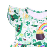 Happy St.Patrick's Day Boutique Dress Toddlers Green Clover Hat Pattern Clothes Children Spring/summer Milksilk Dress With Bow