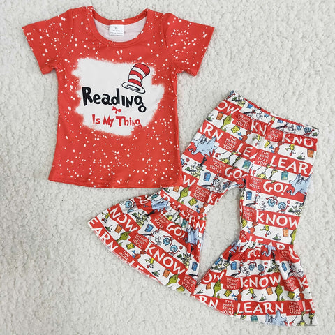 Fashion Cartoon Pattern Girl Red Color Shirt Bell Pants 2Pieces Set Kids Short Sleeve Outfits High Quality Boutique Suit