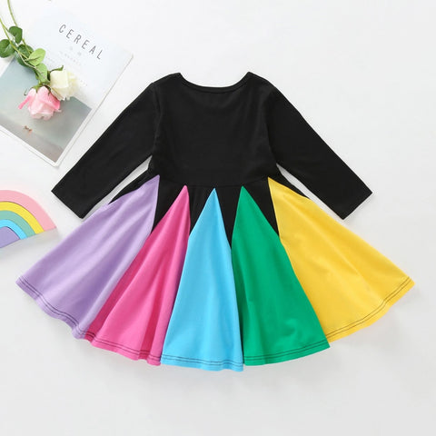 Black Rainbow Twirl Dress - My Cutie Pye Boutique