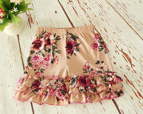 Triple Ruffle Shorties Dark Peach Floral
