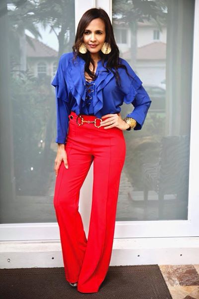 RED STRECH LONG PANTS