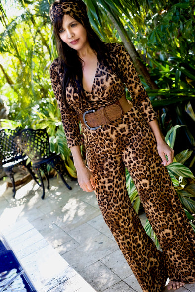 BROWN BLACK ANIMAL PRINT JUMPSUIT