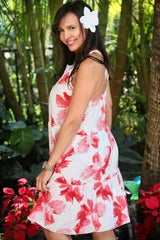 WHITE RED FLOWER DRESS