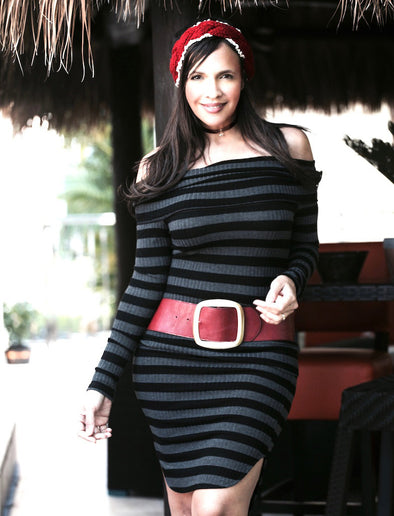 BLACK STRIPES SKIRT SET