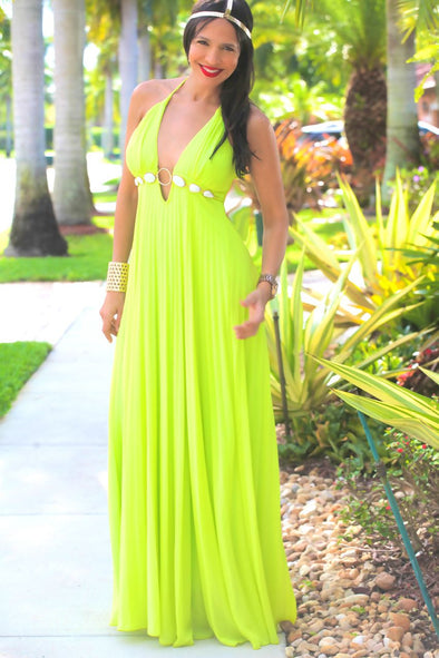GREEN LONG NANCY DRESS