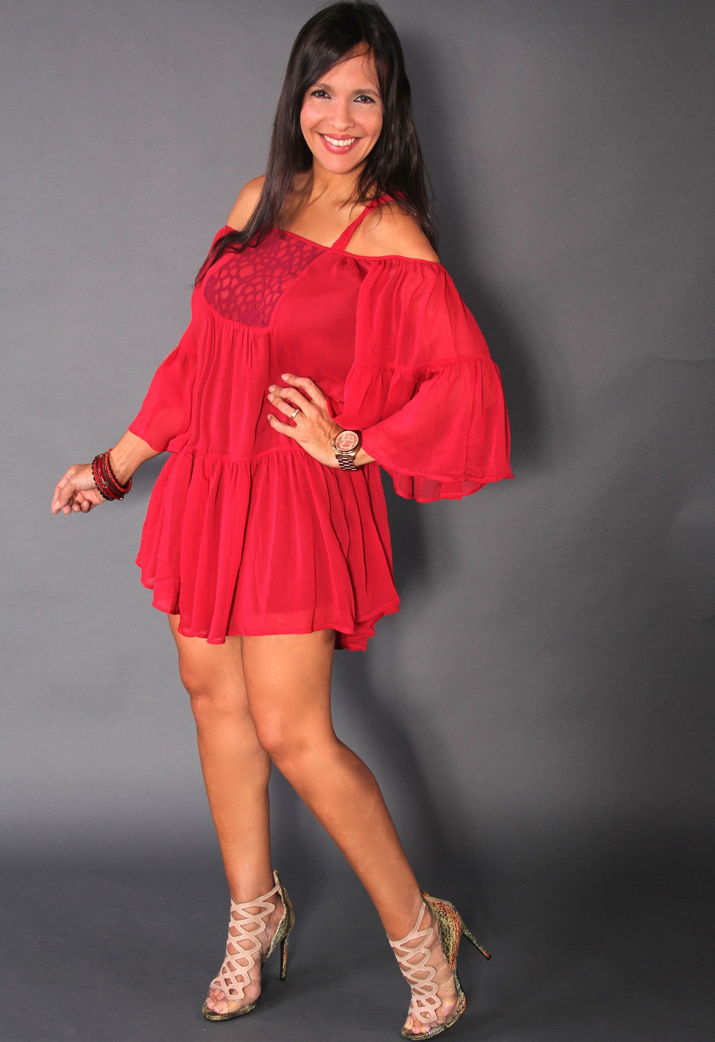 RED HEYDI DRESS