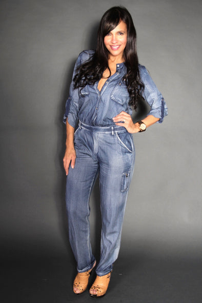 BLUE LONG JEANS JUMPSUIT