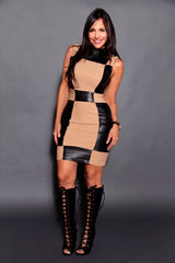 BLACK BEIGE LEATHER DRESS