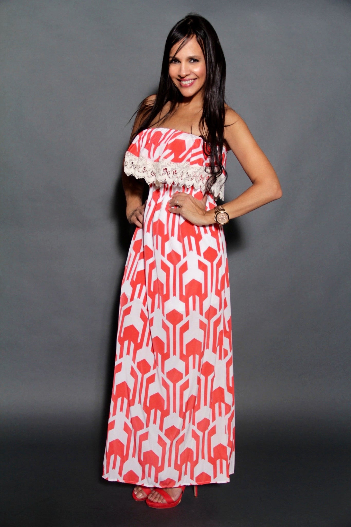 CORAL RED MAXI DRESS
