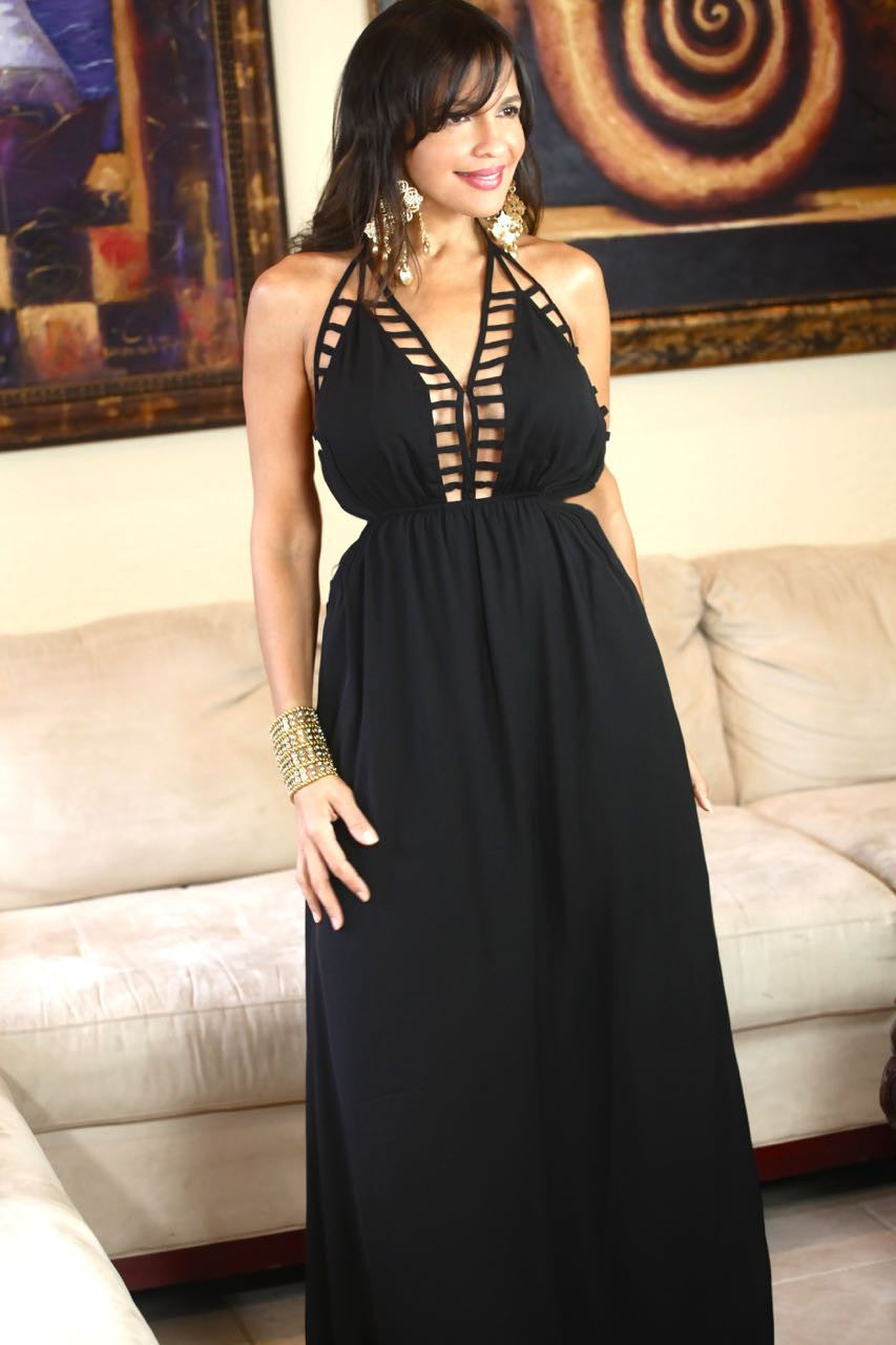 BLACK LINA LONG DRESS