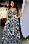 WHITE BLACK ZEBRA LONG DRESS