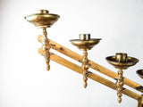 Antique Brass Menorah Adjustable Seven Arm Temple Candlestick Candle Holder