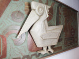 Vintage Large MCM Abstract Wall Art Sculpture ~ Pelican Bird