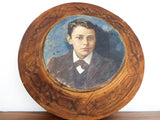 Antique Signed Oil on Wood Portrait Painting