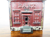Cast Iron Red House Piggy Bank~ J & E Stevens