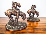 Vintage 1920s Western Indian Horse Bookends End of the Trail after James Fraser