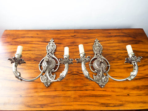 Antique Pair Of Victorian Double Art Nouveau Decorative Wall Sconces