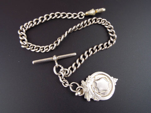 Antique English Sterling Silver Albert Watch Chain 13""