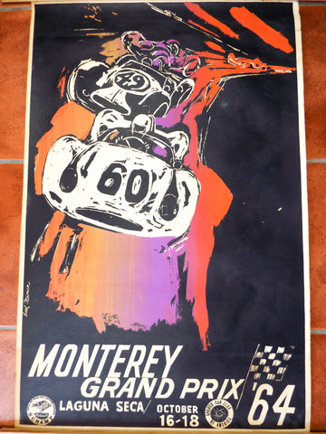 Original Vintage 1964 Monterey Grand Prix Poster ~ Car Race