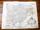Antique 16th C Map Of Spain Hispania by Regni Potentiss