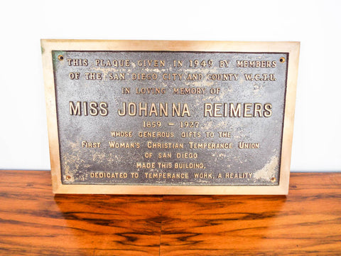 WCTU San Diego Temperance Bronze Memorial Plaque for Johanna Reimers